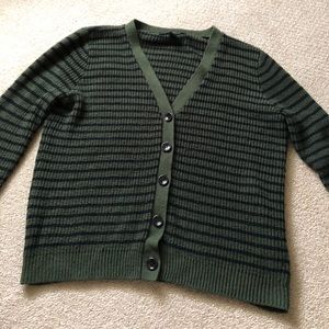 Forest Green and Black Striped Sweater